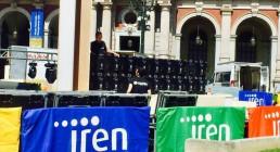 Montaggio ledwall in Piazza Carlo Alberto a Torino