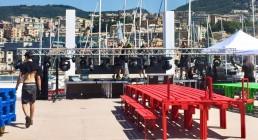 Montaggio luci sulla Tolda della Nave Blu dell'Acquario di Genova - Iren Energy Dinner