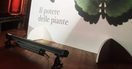 Luci installate per il tour Clarins nella sala riunioni dell'Hotel NH Torino Santo Stefano