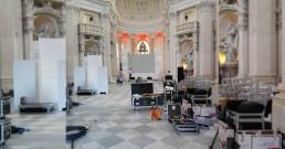 Montaggio struttura per ledwall nella Cappella di Sant'Uberto - Reggia di Venaria Torino