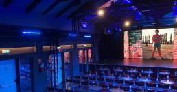 Installazione luci B-Happy sul palco di Zelig cabaret Milano