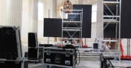 Ledwall con cornice installato nella Cappella di Sant'Uberto a Torino