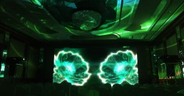 Proiezione immersiva B-Happy nella Sala cristalli dell'Hotel Principe di Savoia di Milano