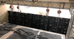 Retro ledwall durante montaggio installazioni per Stand Mitsubishi Electric_MCE 2018