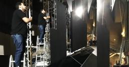 Montaggio ledwall B-Happy sul palco del Teatro Politeama Rossetti di Trieste per la serata I Nostri Angeli 2018